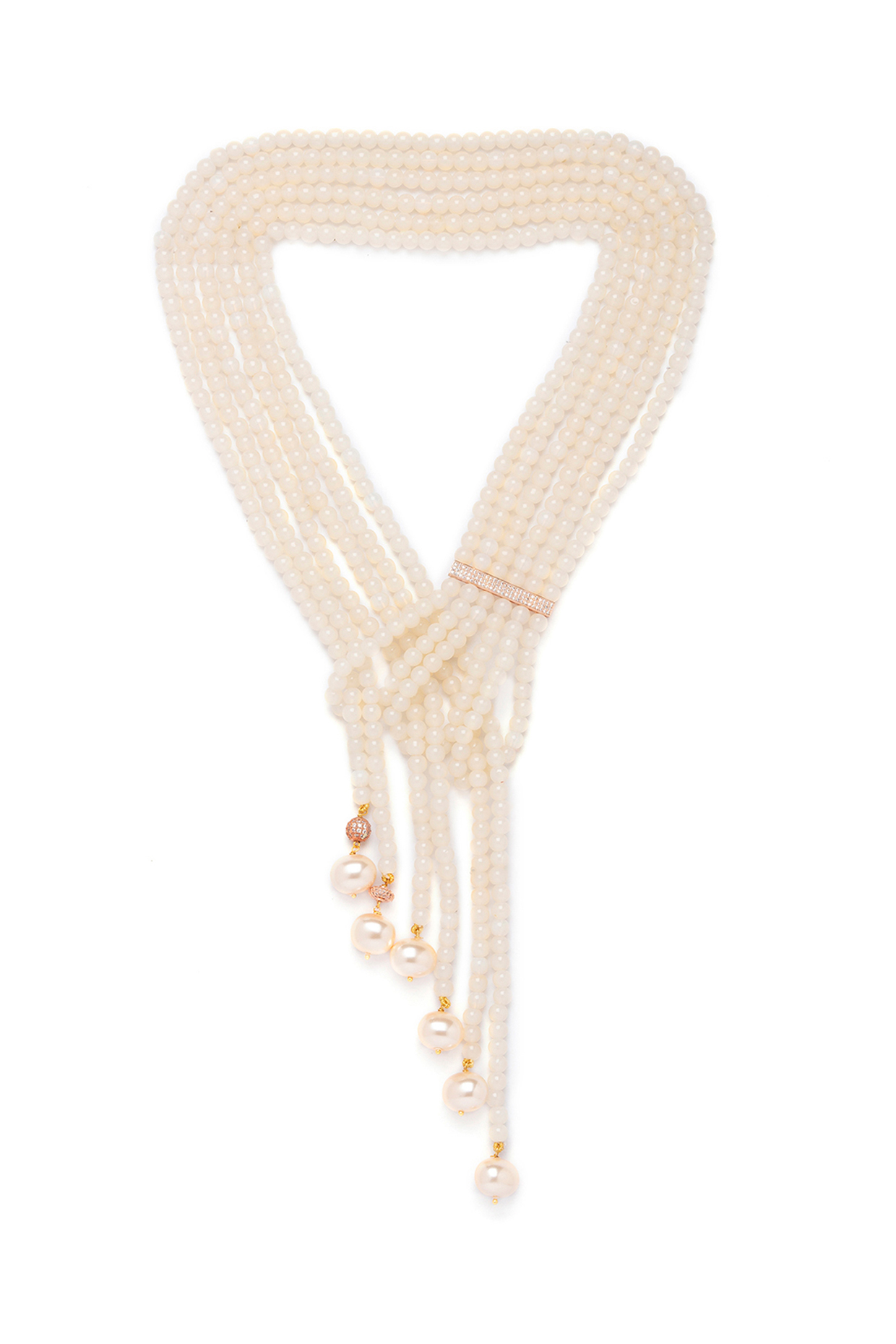 Gold Finish Shell Pearls Necklace by Joules By Radhika