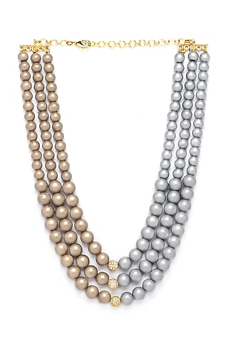 Gold Finish Shell Pearl Drops Necklace by Joules By Radhika