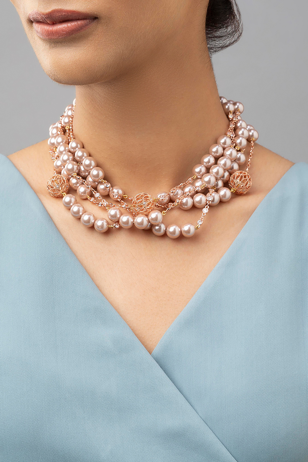 Gold Finish Shell Pearl Necklace by Joules By Radhika