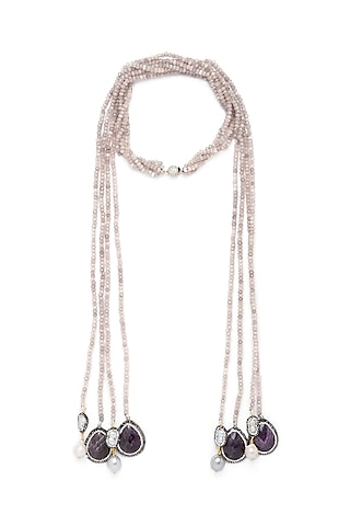 Gold Finish Amethyst Necklace by Joules By Radhika