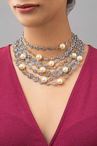 Gold Finish Swarovski Necklace by Joules By Radhika