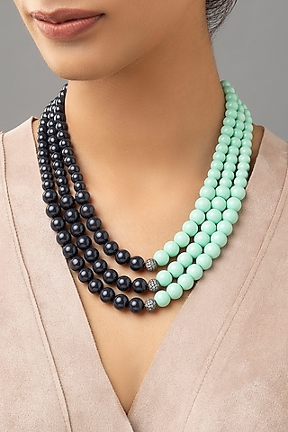 Gold Finish Swarovski & Pearl Necklace by Joules By Radhika