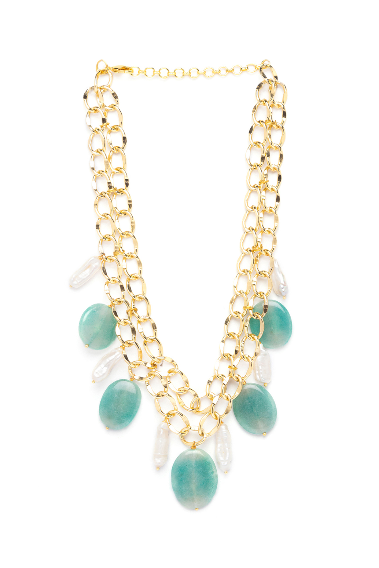 Gold Finish Agate Necklace by Joules By Radhika
