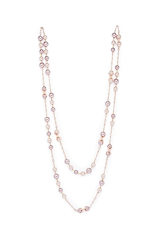 Gold Finish Shell Pearl Drop Necklace by Joules By Radhika