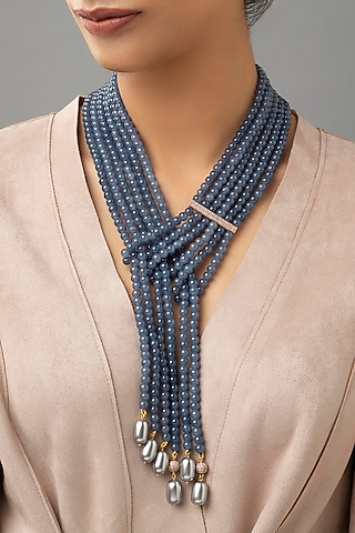 Gold Finish Agate Bead & Pearl Necklace by Joules By Radhika
