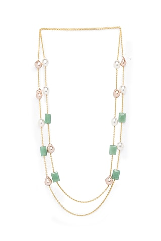 Gold Finish Jade Necklace by Joules By Radhika