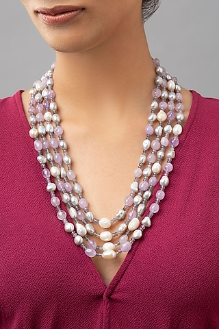Gold Finish Pearl & Jade Necklace by Joules By Radhika