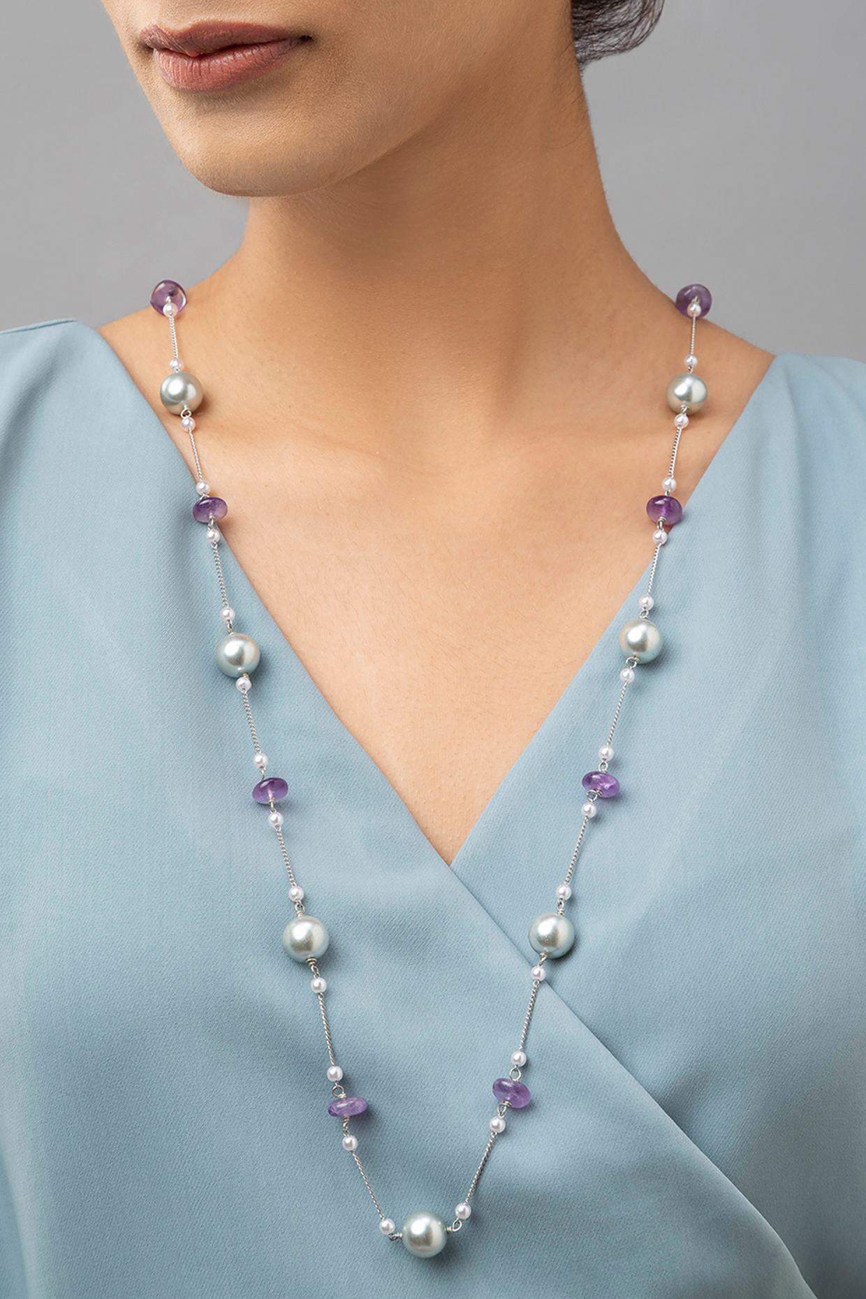 Gold Finish Amethyst & Pearl Necklace by Joules By Radhika