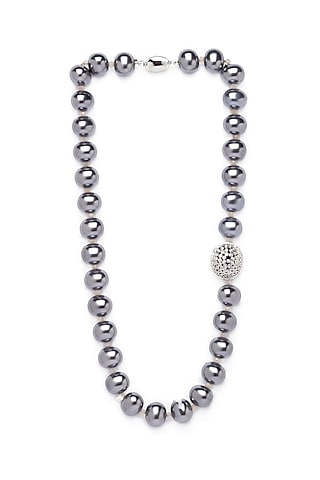 Gold Finish Swarovski Beaded Necklace by Joules By Radhika
