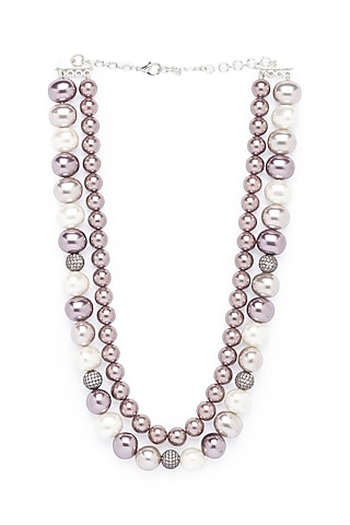 White Finish Shell Pearl & Swarovski Necklace by Joules By Radhika
