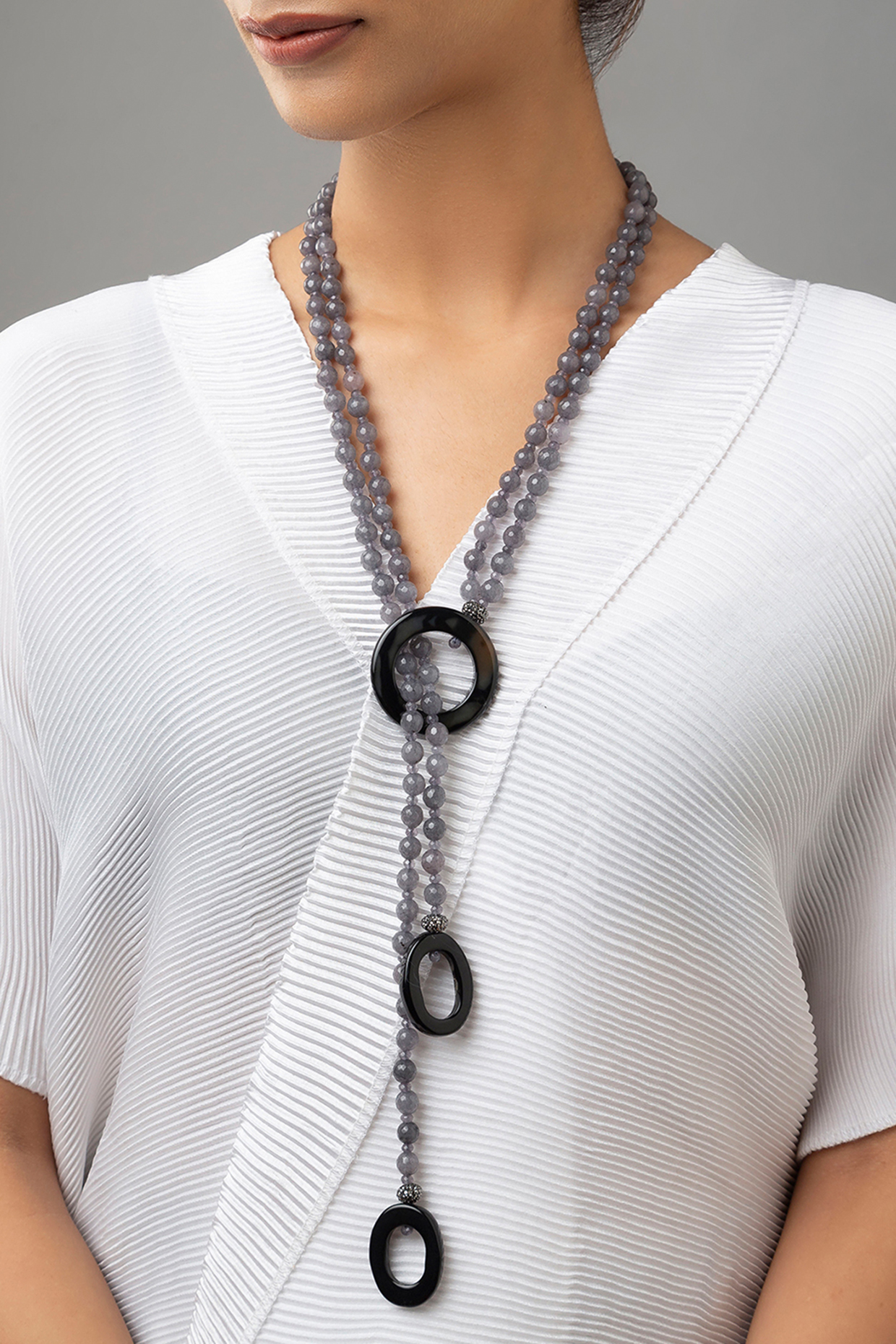 Gold Finish Black Onyx Necklace by Joules By Radhika