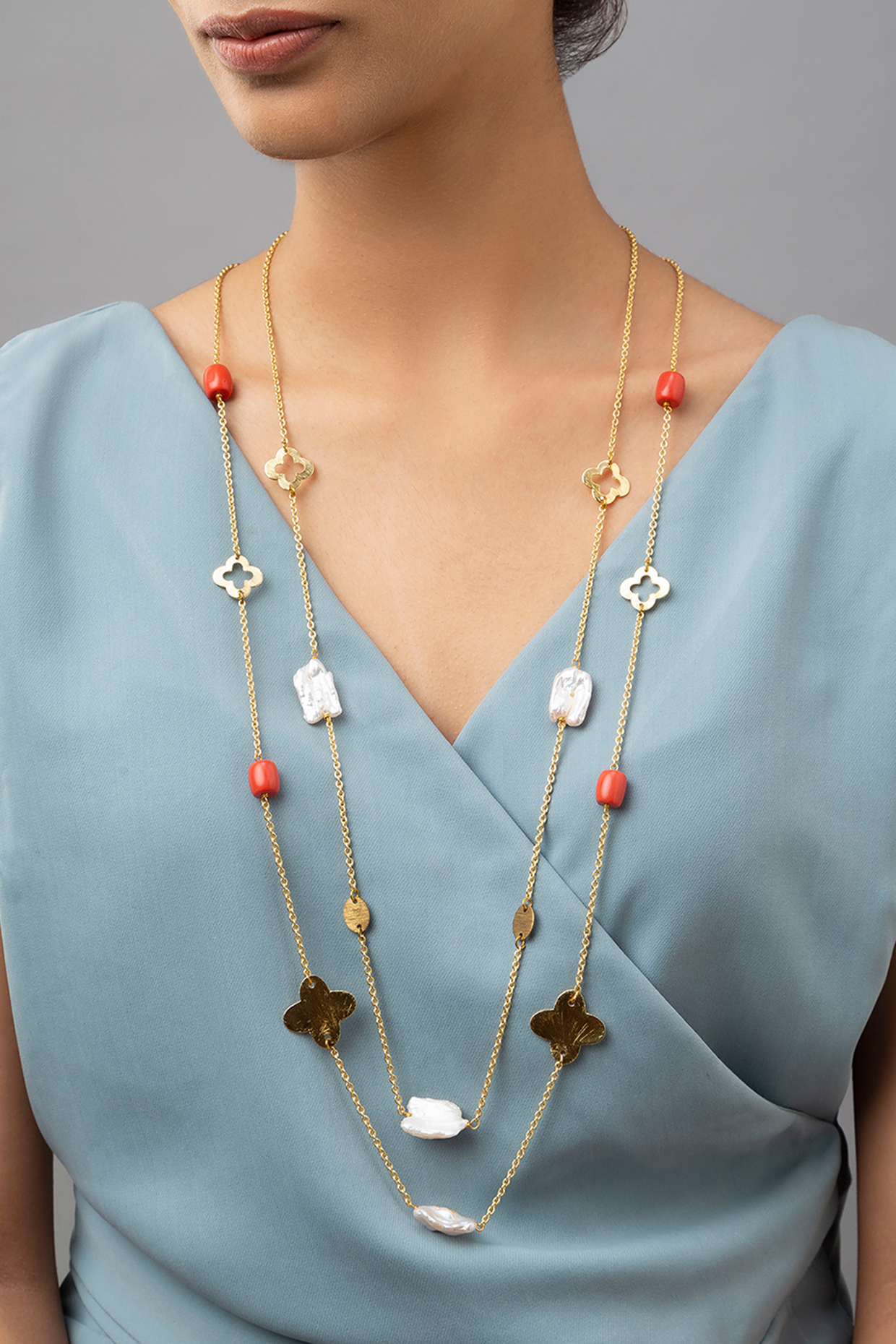 Gold Finish Coral Beaded Necklace by Joules By Radhika