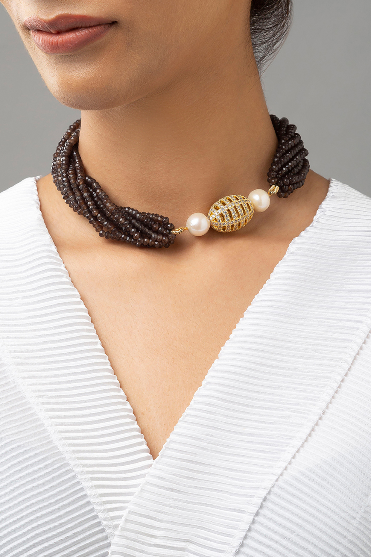 Gold Finish Swarovski & Agate Necklace by Joules By Radhika