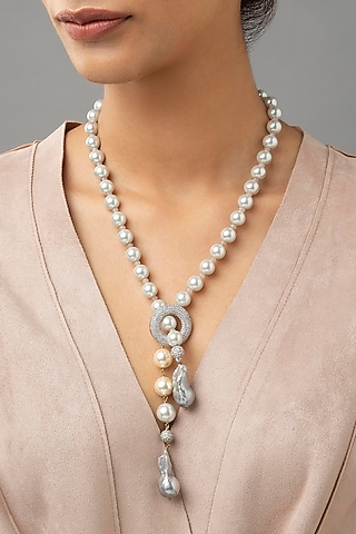 White Finish Pearl Necklace by Joules By Radhika