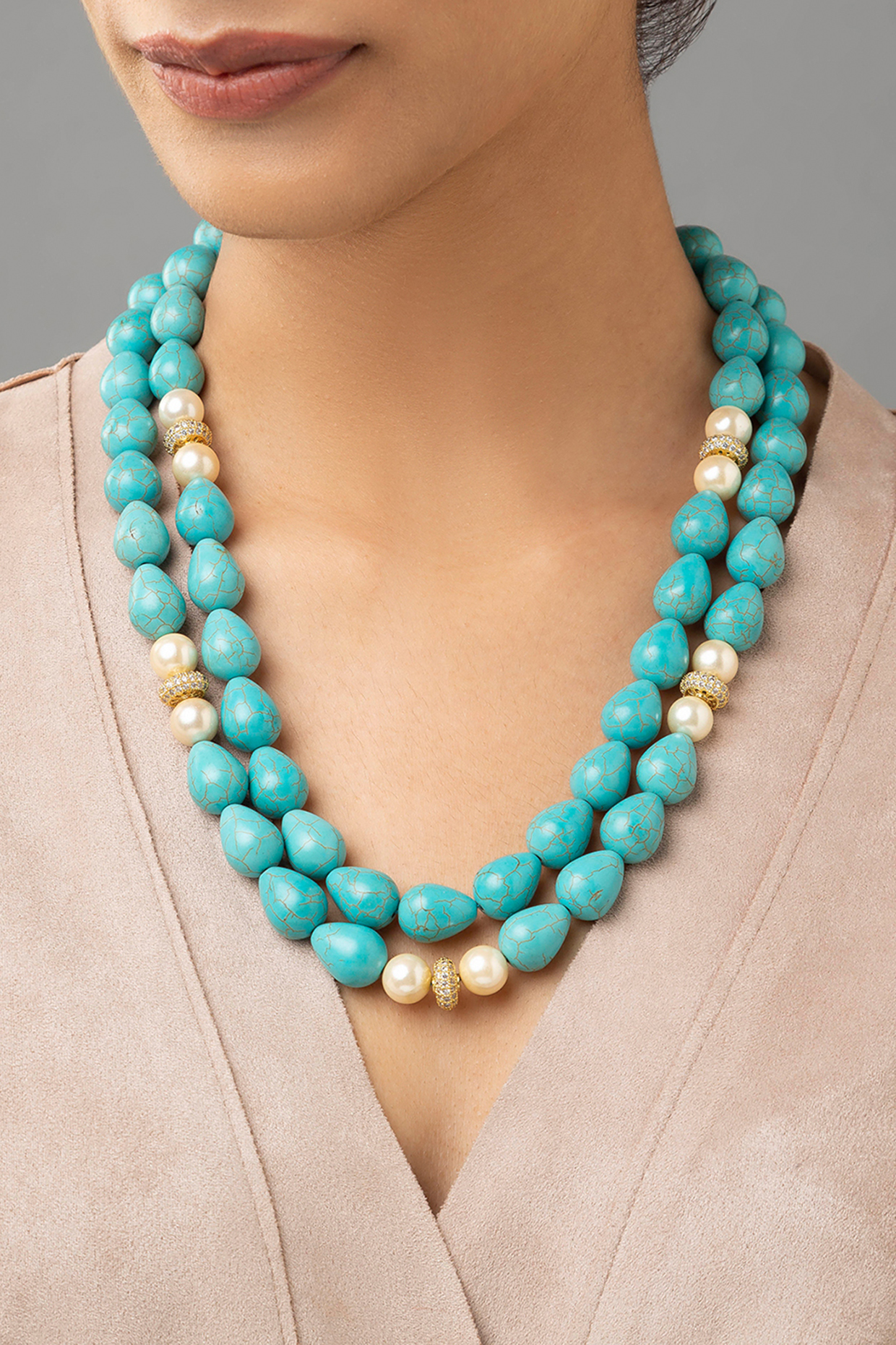 Gold Finish Turquoise Drop Necklace by Joules By Radhika