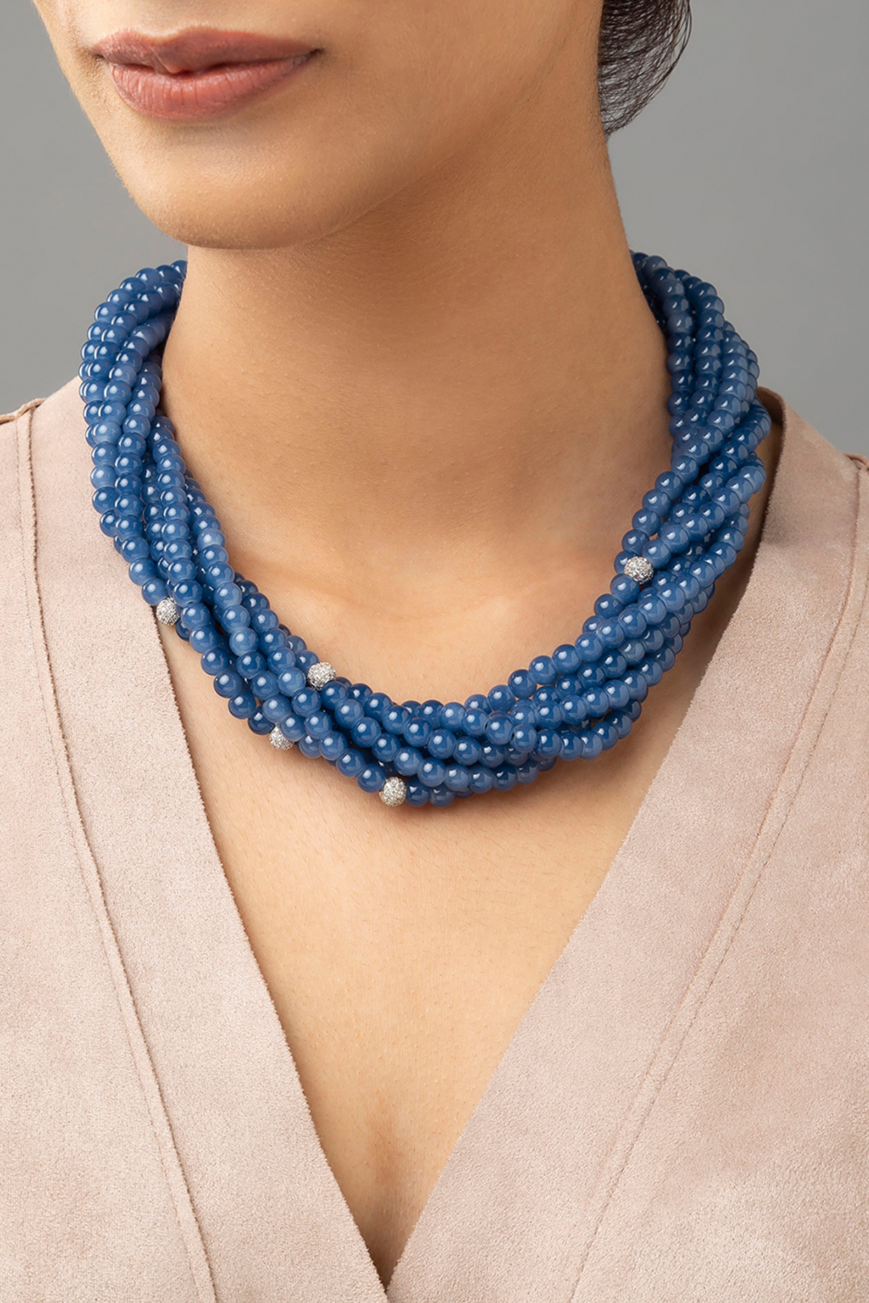 Gold Finish Swarovski & Agate Bead Necklace by Joules By Radhika