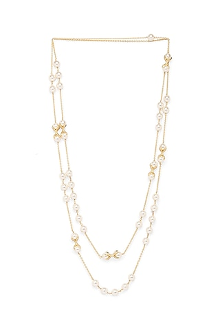 Gold Finish Swarovski & Shell Pearl Necklace by Joules By Radhika