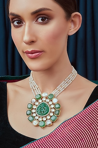 Gold Finish Green Onyx Necklace by Joules By Radhika