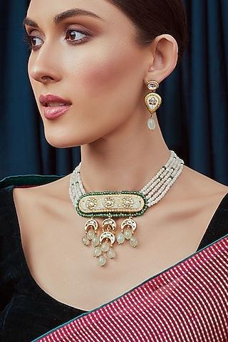 Gold Finish Meenakari Polki Necklace Set by Joules By Radhika
