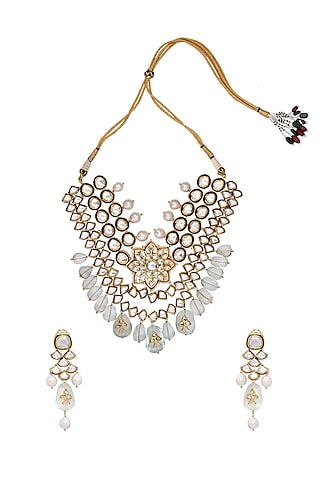 Gold Finish Fluorides & Polki Necklace Set by Joules By Radhika