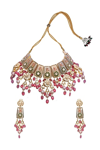 Gold Finish Semi Precious Stones Necklace Set by Joules By Radhika