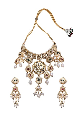 Gold Finish Green & Red Onyx Necklace Set by Joules By Radhika