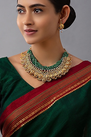 Gold Finish Hydro Ruby & Emerald Necklace Set by Joules By Radhika