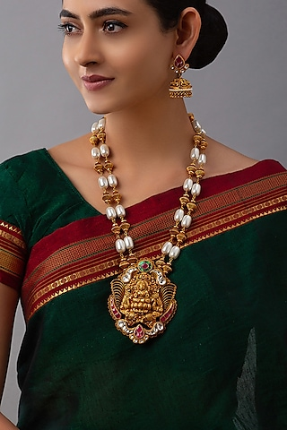 Gold Finish Pearls & Polki Necklace Set by Joules By Radhika