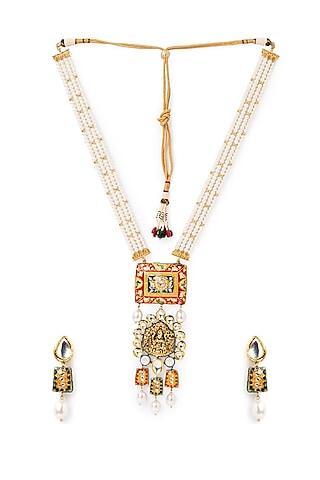 Gold Finish Meenakari Kundan Necklace Set by Joules By Radhika