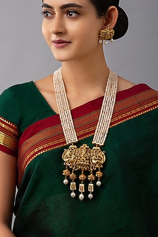 Gold Finish Meenakari Pearl Necklace Set by Joules By Radhika