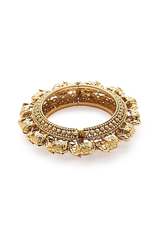 Gold Finish Temple Motifs Bangles by Joules By Radhika
