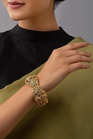 Gold Finish Hand Carved Temple Motifs Bangles by Joules By Radhika