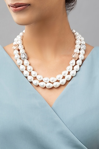 White Finish Shell Pearls & Swarovski Necklace by Joules By Radhika