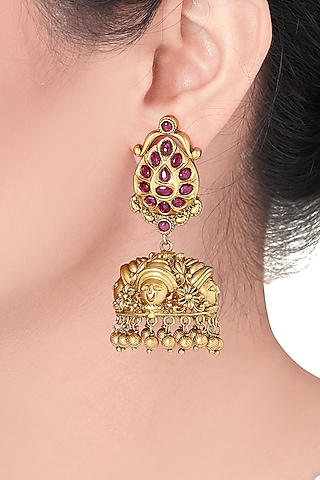 Gold Plated Emerald Earrings by Joules By Radhika
