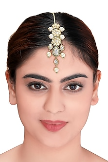 Gold Plated Shell Pearl Maang Tikka by Joules By Radhika