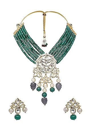 Gold Plated Jade Bead Necklace Set by Joules By Radhika