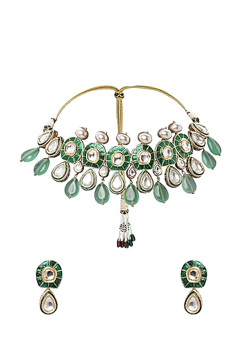 Gold Plated Green Meenakari Necklace Set by Joules By Radhika