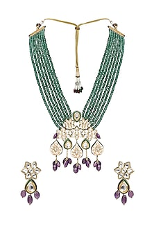 Gold Plated Amethyst Necklace Set by Joules By Radhika-JEWELLERY ON DISCOUNT