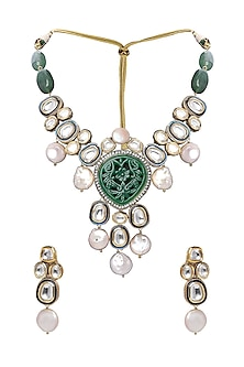 Gold Plated Agate & Pearl Necklace Set by Joules By Radhika-JEWELLERY ON DISCOUNT