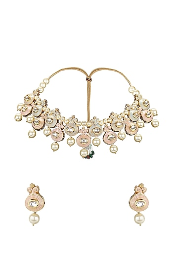 Gold Plated Meenakari Necklace Set by Joules By Radhika
