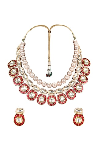 Gold Plated Polki Meenakari Necklace Set by Joules By Radhika