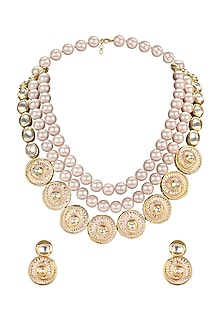 Gold Plated Meenakari Pearl Necklace Set by Joules By Radhika