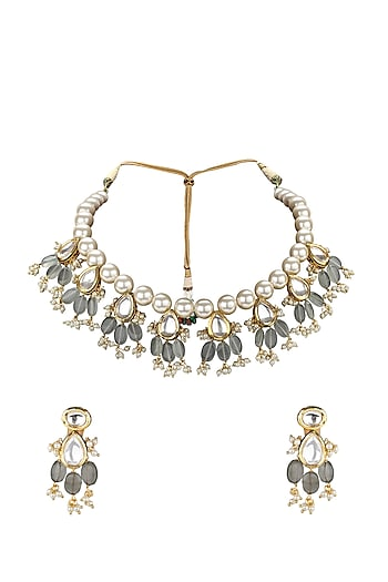 Gold Plated Polki & Jade Necklace Set by Joules By Radhika