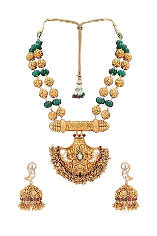 Gold Plated Temple Pendant Necklace Set by Joules By Radhika