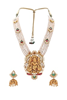 Gold Plated Polki Temple Pendant Necklace Set by Joules By Radhika