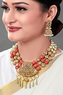 Gold Plated Coral Temple Pendant Necklace Set by Joules By Radhika