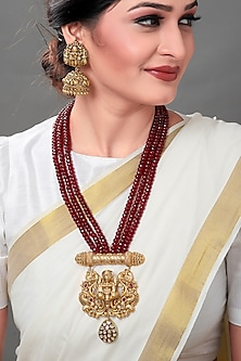 Gold Plated Beaded Temple Pendant Necklace Set by Joules By Radhika