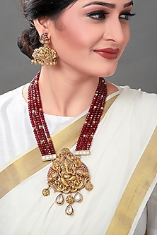 Gold Plated Temple Pendant Necklace Set With Polkis by Joules By Radhika