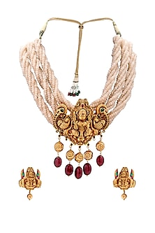 Antique Gold Plated Beaded Pendant Necklace Set by Joules By Radhika