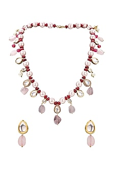 Gold Plated Rose Quartz Necklace Set by Joules By Radhika
